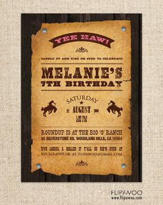 Western Cowboy or Cowgirl Invitation for a Birthday Party by FLIPAWOO  - Customized Printable File. $17.00, via Etsy.