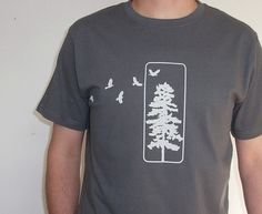 Mens T shirt - Organic Cotton with Flying Birds and Pine Tree - Grey