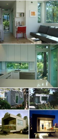Modelo canadiense de pequeña casa prefabricada hecha con madera laminada CTL. Características sostenibles, y varias modelos de uno y dos dormitorios. Asequible.
