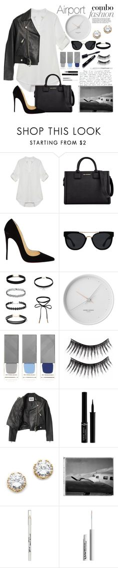 """""""Airport Fashion"""" by essentiallyessence ❤ liked on Polyvore featuring Karl Lagerfeld, Christian Louboutin, Quay, Georg Jensen, Burberry, Acne Studios, Giorgio Armani, Kenneth Jay Lane, Barry M and NYX"""