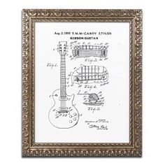 Trademark Fine Art 1955 Mccarty Gibson Guitar Patent White by Claire Doherty, Gold Ornate Frame 11x14-Inch Trademark Fine Art http://www.amazon.com/dp/B016BJZNXW/ref=cm_sw_r_pi_dp_UYsjwb1R5JJAK