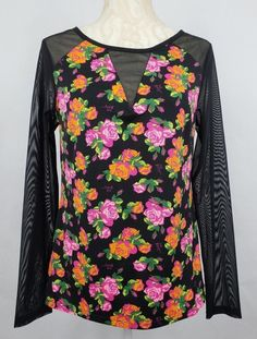 ebcabff9700014 Betsey Johnson Black Multi Color Floral V Neck Mesh Long Sleeve Top Size  Medium #BetseyJohnson