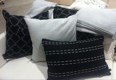 Design theme of the month: textiles. Monochrome pillows from our design shop. Design Shop, Monochrome, Textiles, Throw Pillows, Interior Design, Shopping, Beautiful, Nest Design, Toss Pillows