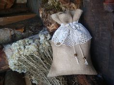 Rustic Burlap Linen Gift Bag with Vintage Ivory by MilaStyle, $5.50