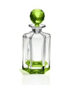 In all my searches, I never saw colored crystal, but think it's just gorgeous. This decanter is Bohemia Crystal made in the Czech Republic.