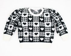 Vintage Little Girl Sweater Black White Heart by ShopTwitchVintage