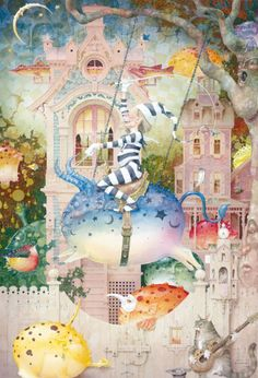 A fantasy surrealist painting by David Merriam of a character riding through dreamland on the back of a fantasy creature