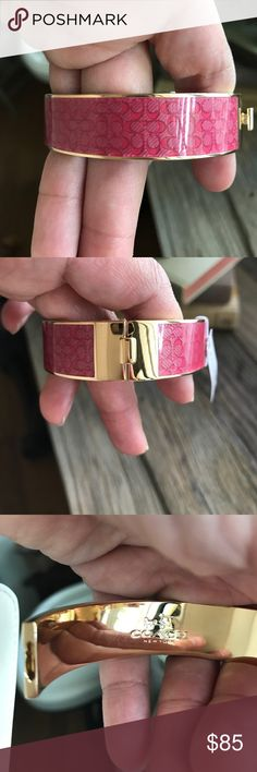 """Coach Pink Signature """"C"""" Bangle Pink with Gold trim and interior. Made in China. I have a 7"""" wrist and it fits me  Signature """"C""""   NWT Coach Jewelry Bracelets"""