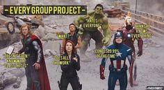 I am Black Widow in every group work and a little bit Iron man .<------ I am Batman >> Me too.