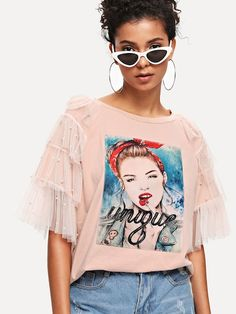 SheIn offers Lace Panel Figure Patch Tee & more to fit your fashionable needs. Diy Fashion, Fashion Outfits, Womens Fashion, Fashion Design, Diy Clothes, Clothes For Women, Vetement Fashion, Shirt Print Design, Half Sleeves