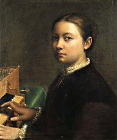 130-13-ARTISTE DELL'ITALIA DEL 500 E 600------------------L'adulazione di cui SOFONISBA fu circondata di committenti e la pubblicità che fu data a questi segni esteriori del successo ebbero grande importanza storica per le donne artiste che seguirono.La ricchezza favolosa che il suo talento le guadagno'dovette indurre altri padri di figlie dotate a insegnare loro l'arte nella speranza di analoghi successi.-----------------Sofonisba Anguissola -autoritratto.