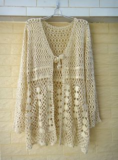 long sleeve boho crochet cardigan