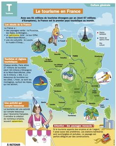 Le tourisme en France - Newest Jewelry Models A Level French, Ap French, Learn French, French Language Lessons, French Language Learning, French Lessons, France Map, France Travel, French Alphabet