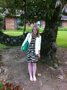 milly striped halter dress  trina turk for banana republic white blazer  dee keller green tote  dee keller bow flats    www.acupoflindsayjo.com