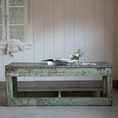 Green Coffeeish Vintage Table by Rachel Ashwell Shabby Chic Couture