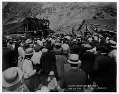 "Opening day festivities August 6,1922 at the White's Point Hot Springs (also known as ""White Point"") with a crowd of  gathered in front of the hotel. Dancing was free at the dance hall."