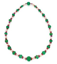 carved emerald,faceted ruby and pearls esmeraldas carveadas, rubies faceteados y perlas.