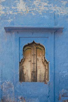 Ornate Indian Window In A Blue City Traditional Blue Architecture, Jodhpur, Rajasthan, India / Alexander Grabchilev for Stocksy United Diy Screen Door, Sliding Screen Doors, Front Doors With Windows, Sliding Glass Door, Exterior Door Colors, Front Door Colors, Indian Window Design, Faux Wood Garage Door, Red Shutters