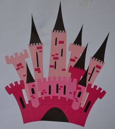 Great idea to teach symmetry and overlap (perspective) lesson - use layers of monochromatic colors making a castle. Can fold in half and cut to create symmetry. Also love the bricks. Can do watercolor sunset for background.
