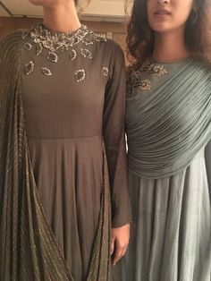 Beautiful draped dresses with superb Hand Embroidery. Indian Designer Outfits, Designer Gowns, Indian Outfits, Saree Gown, Anarkali Dress, Salwar Kurta, Lehenga, Drape Gowns, Draped Dress