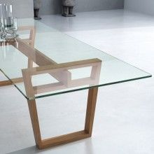 MARALBA - Contemporary dining table / wooden / glass / rectangular by CELDA