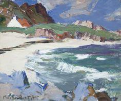 Seascape, Iona by John Maclauchlan Milne (Scottish Seascape Paintings, Landscape Paintings, Klimt, Impressionist Art, Art Uk, Abstract Landscape, Les Oeuvres, Art Images, Fine Art