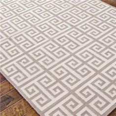 Greek Key Dhurrie Rug, shown in Grey Sky and Cream.  Also in Sea Blue and Cream. 9x12 $887 + ship