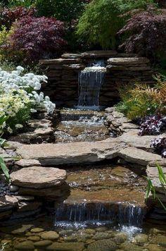 55 Fresh and Beautiful Backyard Ponds and Waterfall Garden Ideas - Garten Welt Backyard Water Feature, Ponds Backyard, Backyard Waterfalls, Backyard Ideas, Garden Pond, Garden Paths, Garden Beds, Pond Design, Garden Design