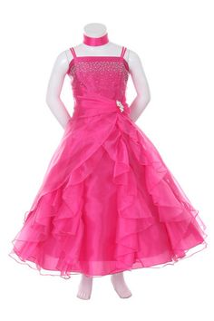 Organza & Beaded Satin Bodice Flower Girl Dress Prom Bridesmaid Wedding Pageant #Dress