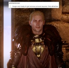 Cullen is adorable. I read a neat info about his armor choice the other day.