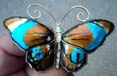 Large Silver Enamel Norwegian Butterfly Brooch - David Andersen Norway
