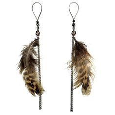 Nipplenoose Feather Natural Brown Czech Glass Fringe Nipplerings Nipple Rings Noose Hematite Adjuster by BoDivas -- Awesome products selected by Anna Churchill