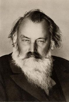 Johannes Brahms photo with dark hair and white beard - click to enlarge