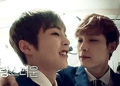 """""""Lay forgetting his sexual orientation again ft. Xiumin (gif)"""" the description XD"""