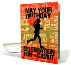 Silhouette of a female runner. Perfect for the runner you'd like to wish Happy Birthday!
