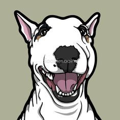 'Happy Luna English Bull Terrier' Graphic T-Shirt by Sookiesooker Bull Terrier Funny, Pitbull Terrier, Cute Paintings, English Bull Terriers, Happy Art, Cane Corso, Dog Boarding, Cute Animal Pictures, Cute Animals