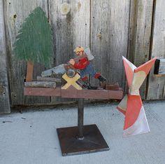 Folk Art  Lumberjack Sawing Wood Whirligig