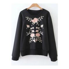 0ba26a2f7514 SheIn(sheinside) Black Flower Embroidery Ribbed Trim Sweatshirt (180 DKK) ❤  liked. Direkte SalgFleece
