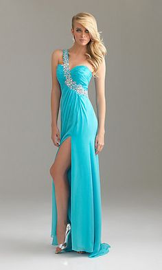 One Shoulder Prom Dress by Night Moves 6424 at SimplyDresses.com