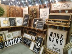 Signs booth decor, craft booth displays, craft show booths, store window displays, Craft Show Booths, Craft Booth Displays, Booth Decor, Store Window Displays, Craft Show Ideas, Sign Display, Display Ideas, Booth Ideas, Vintage Booth Display