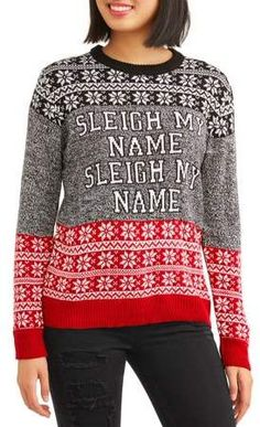 eacb100e78 Juniors  Sleigh My Name Holiday Christmas Sweater Get into the spirit of the