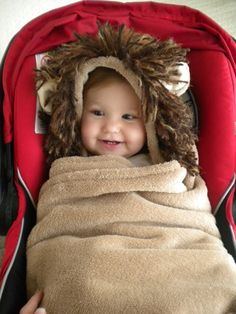 Car Seat Blanket with Lion Hoodie for Infant by CarSeatCuddles