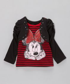 Red Stripe Minnie Faux Shrug Top