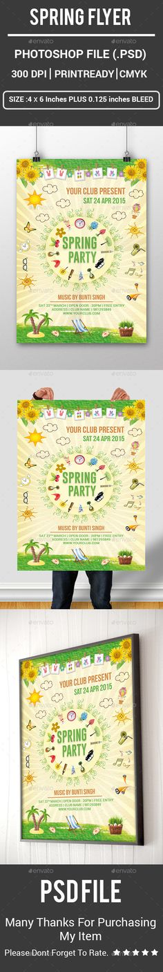 spring flyer,break, butterfly, cat, clock, cloud, day, event, festival, flyer, fresh, garden club, green, icecream, nature, parties, party, poster, rabbit, rock house, spring, spring flyer, springtime, sunflower, tree, wood