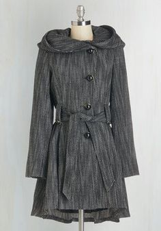 Once Upon a Thyme Coat in Salt and Pepper. This coat by Steve Madden showcases a woven black and white design, elegant pleats, and, cape-inspired neckline wrap that's a fairy-tale-come-true! #black #modcloth
