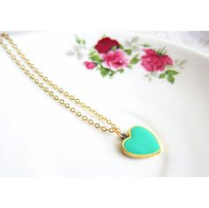 Tiffany Blue Heart Necklace Non Tarnish 18K gold plated chain by Jewelsalem, $18.00