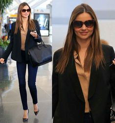 Miranda Kerr's Black Blazer, Black Pumps, Bag and Sunglasses on Jan 18, 2013 (JFK Airport)