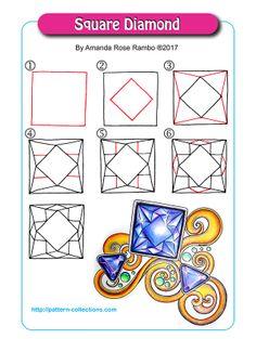Square Diamond Tangle, Zentangle Pattern by Amanda Rose Rambo