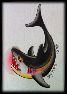 shark tattoo, but with a smile instead of an angry face... & different colors. On leg/foot.