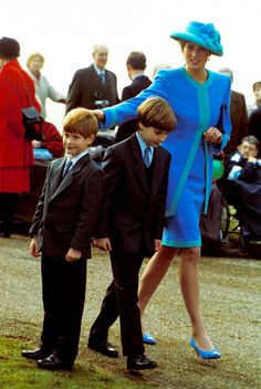 dianaspot:  Princess of Wales at Sandringham with sons Prince Harry and Prince William.